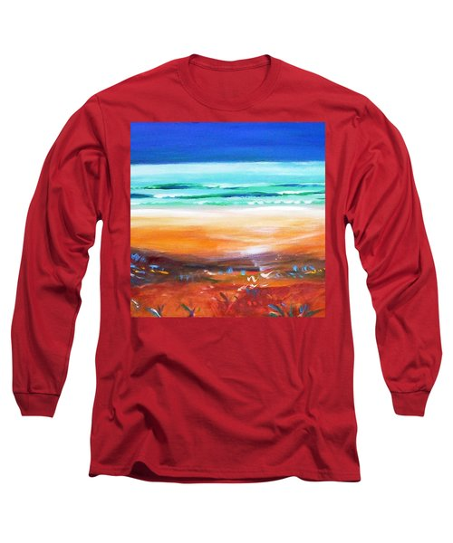 Long Sleeve T-Shirt featuring the painting Beach Joy by Winsome Gunning