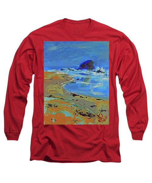 Long Sleeve T-Shirt featuring the painting Beach Solitude by Walter Fahmy