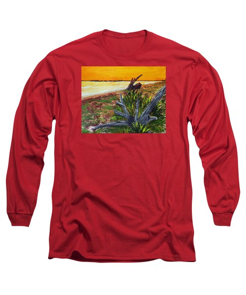 Long Sleeve T-Shirt featuring the painting Beach Sunset by Jack G  Brauer