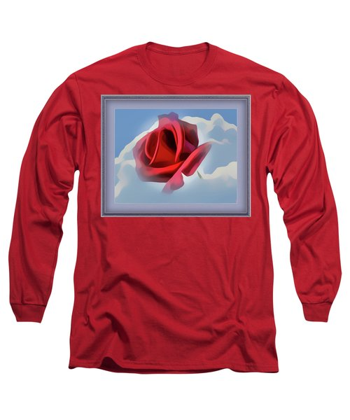 Beautiful Red Rose Cuddled By Cumulus Long Sleeve T-Shirt