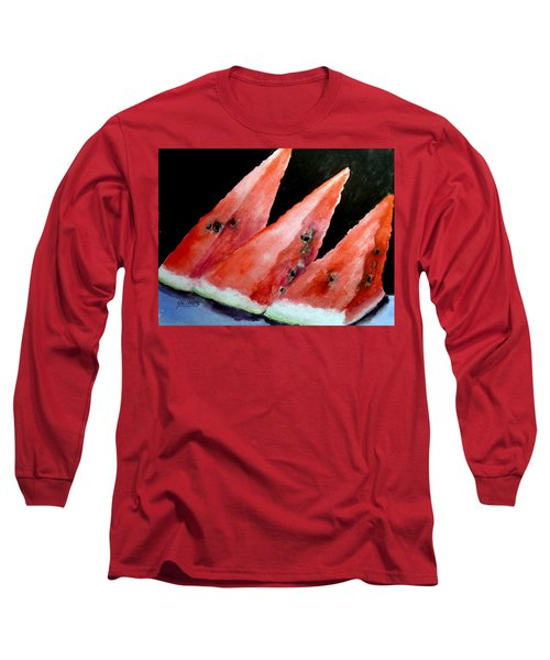 Long Sleeve T-Shirt featuring the painting Beautiful Summer Watermelon  by Carol Grimes