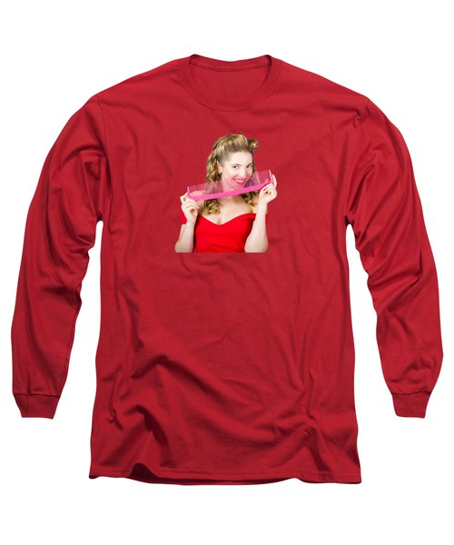 Long Sleeve T-Shirt featuring the photograph Beauty Salon Pinup Girl Smiling With Haircare Comb by Jorgo Photography - Wall Art Gallery