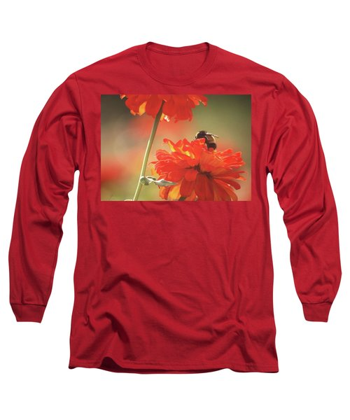Long Sleeve T-Shirt featuring the photograph Bee And Flower II by Donna G Smith