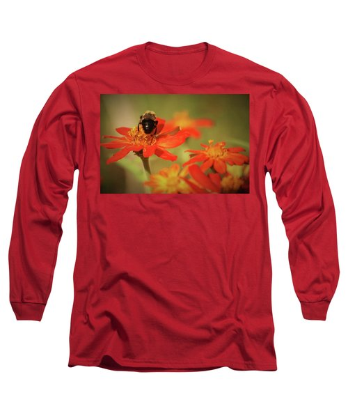 Long Sleeve T-Shirt featuring the photograph Bee And Flower IIi by Donna G Smith