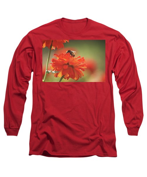 Long Sleeve T-Shirt featuring the photograph Bee And Flower Iv by Donna G Smith