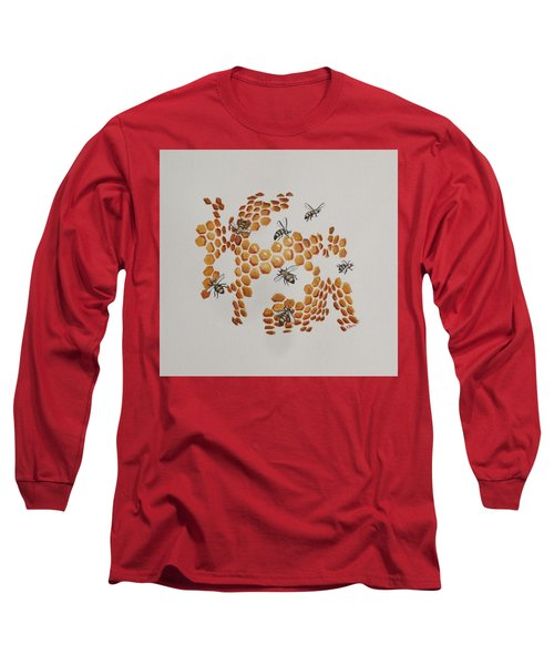 Long Sleeve T-Shirt featuring the painting Bee Hive # 2 by Katherine Young-Beck