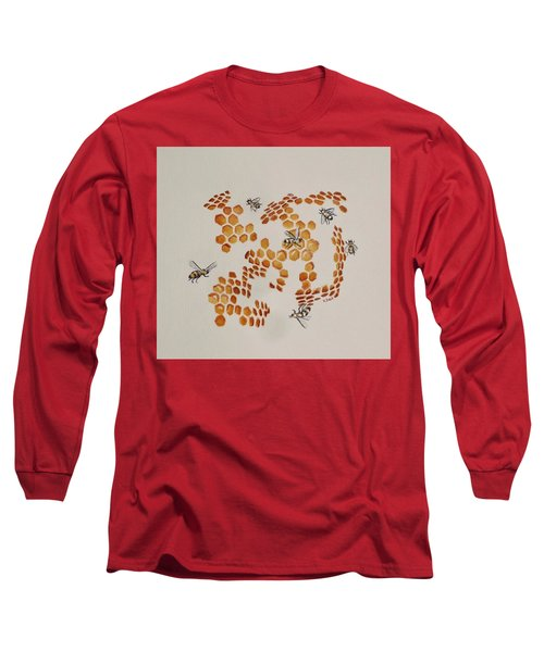 Long Sleeve T-Shirt featuring the painting Bee Hive # 3 by Katherine Young-Beck