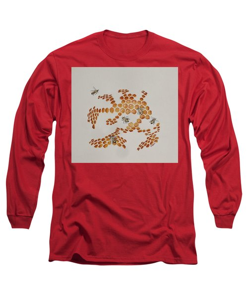 Long Sleeve T-Shirt featuring the painting Bee Hive # 4 by Katherine Young-Beck