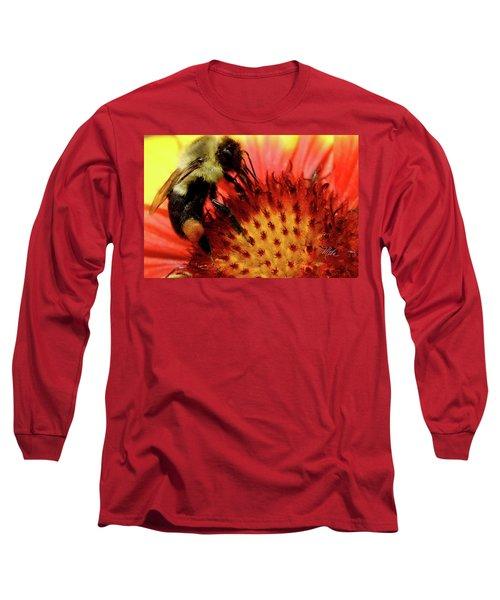 Long Sleeve T-Shirt featuring the photograph Bee Red Flower by Meta Gatschenberger