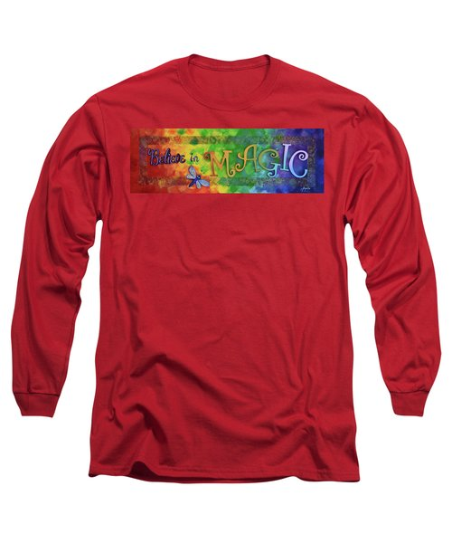 Long Sleeve T-Shirt featuring the painting Believe In Magic by Agata Lindquist
