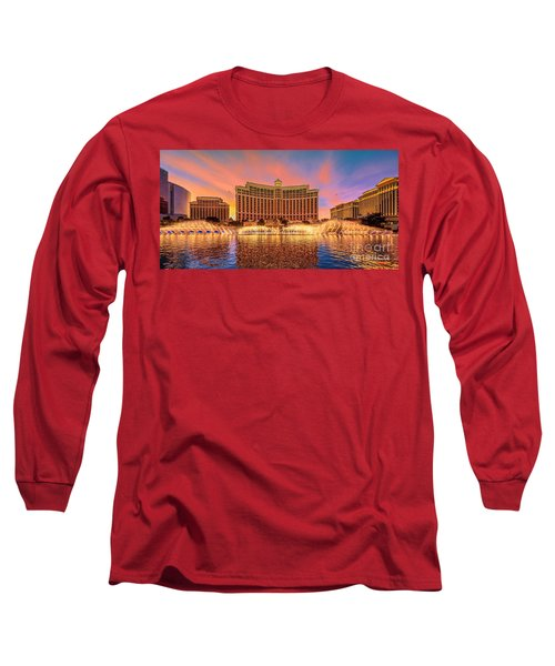 Bellagio Fountains Warm Sunset 2 To 1 Ratio Long Sleeve T-Shirt
