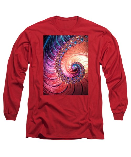 Long Sleeve T-Shirt featuring the digital art Beneath The Sea Spiral by Kathy Kelly