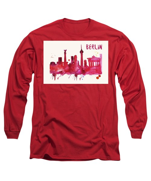 Berlin Skyline Watercolor Poster - Cityscape Painting Artwork Long Sleeve T-Shirt