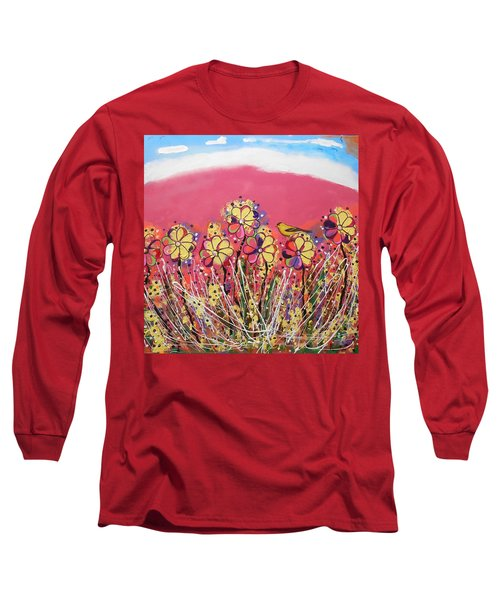 Berry Pink Flower Garden Long Sleeve T-Shirt