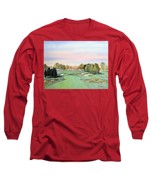 Long Sleeve T-Shirt featuring the painting Bethpage State Park Golf Course 18th Hole by Bill Holkham