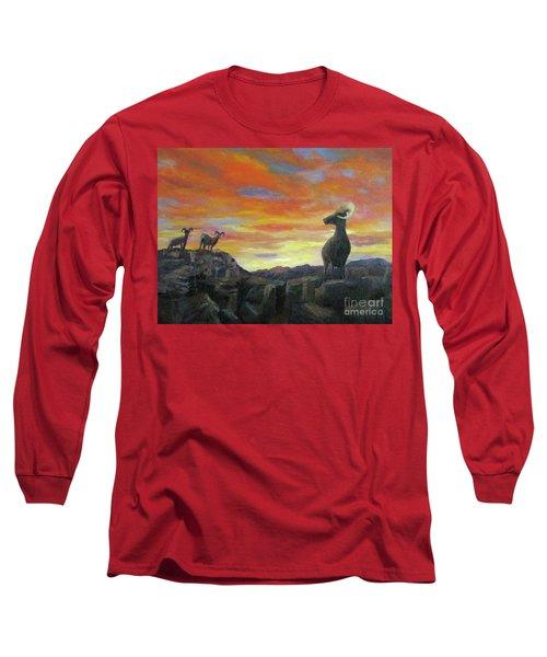 Big Horn Sheep At Sunset Long Sleeve T-Shirt