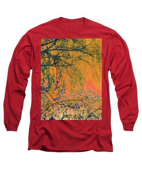 Birch Tree And Orange Sky - Winter Long Sleeve T-Shirt