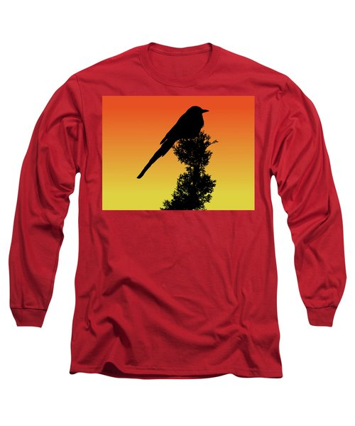 Black-billed Magpie Silhouette At Sunset Long Sleeve T-Shirt