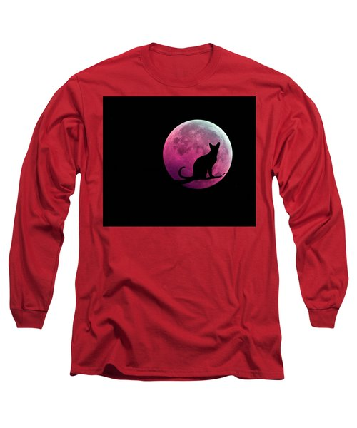 Black Cat And Pink Full Moon Long Sleeve T-Shirt