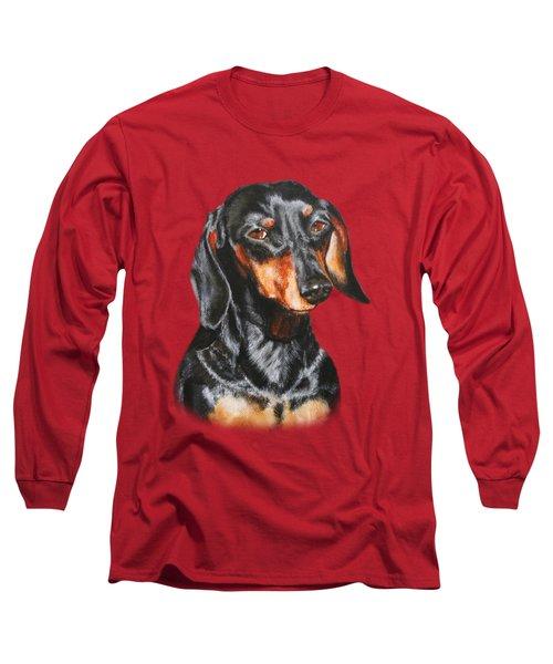 Black Dachshund Accessories Long Sleeve T-Shirt by Jimmie Bartlett