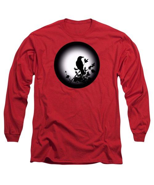 Blackbird In Silhouette  Long Sleeve T-Shirt by David Dehner