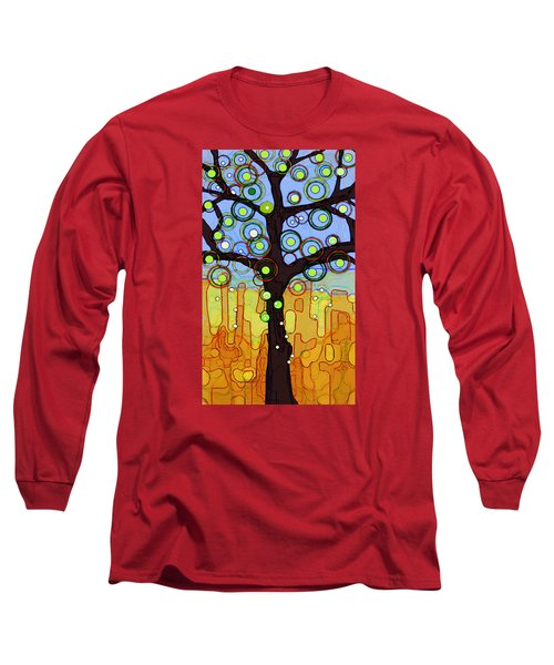Long Sleeve T-Shirt featuring the painting Blue And Gold by Patricia Arroyo
