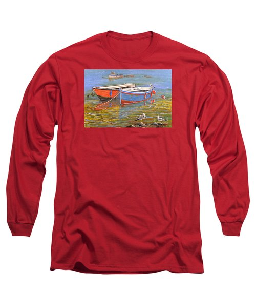Blue And Orange Long Sleeve T-Shirt by Bill Holkham