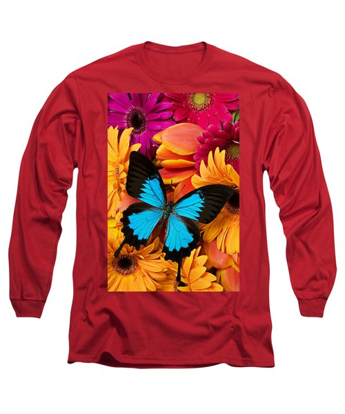Blue Butterfly On Brightly Colored Flowers Long Sleeve T-Shirt