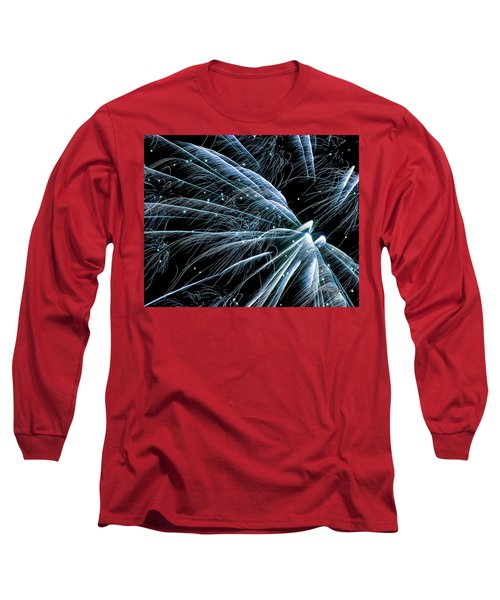 Long Sleeve T-Shirt featuring the photograph Blue Fairy Fireworks #0710_3 by Barbara Tristan