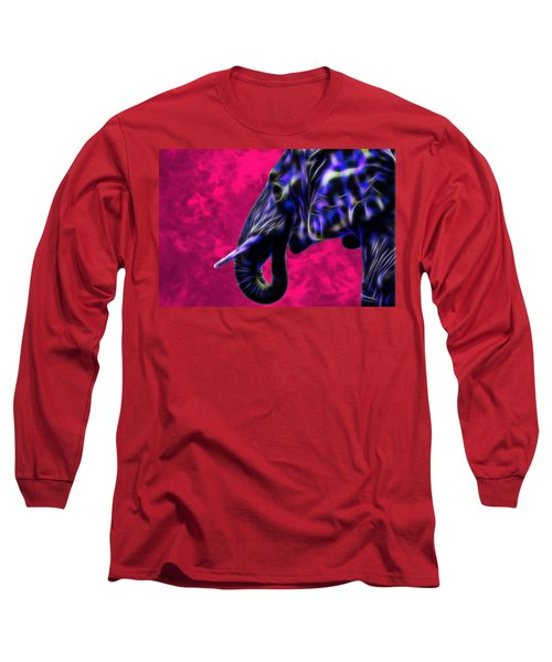 Blue Fractal Elephant With Pink Background Long Sleeve T-Shirt