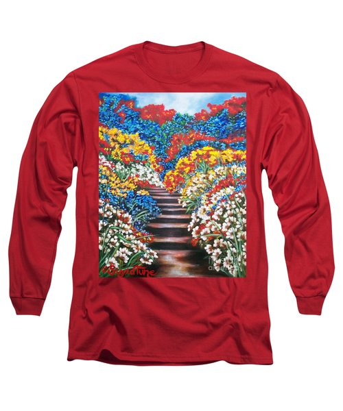 Long Sleeve T-Shirt featuring the painting Blue Garden Cascade by Sigrid Tune