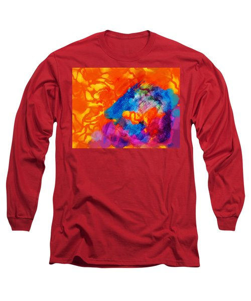 Blue On Orange Long Sleeve T-Shirt