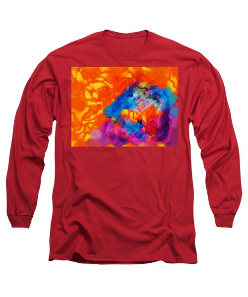 Long Sleeve T-Shirt featuring the digital art Blue On Orange by Antonio Romero
