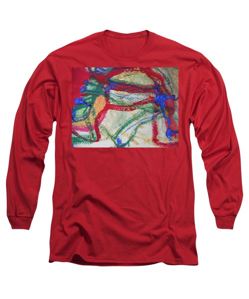 Blue On Red Long Sleeve T-Shirt
