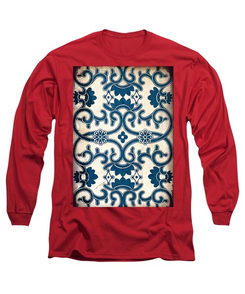 Blue Oriental Vintage Tile 02 Long Sleeve T-Shirt