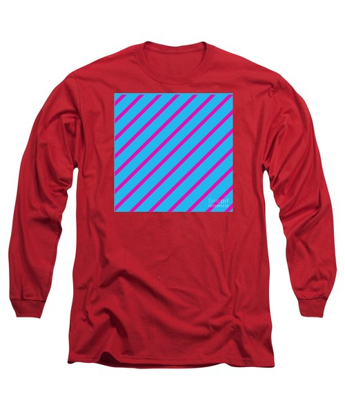 Blue Pink Angled Stripes Abstract Long Sleeve T-Shirt