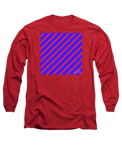 Blue Red Angled Stripes Abstract Long Sleeve T-Shirt