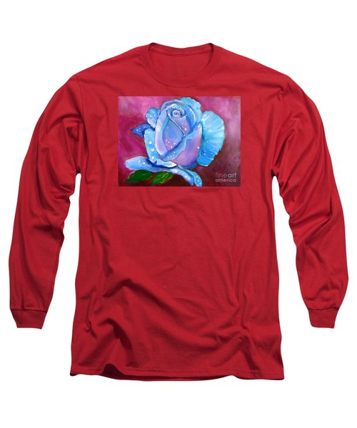 Blue Rose With Dew Drops Long Sleeve T-Shirt by Jenny Lee