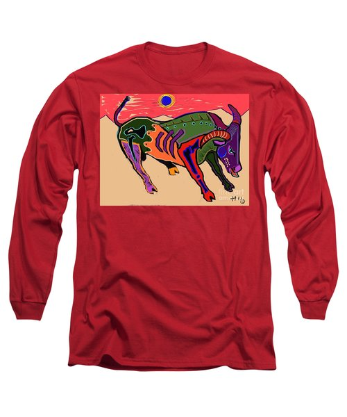 Blue Sun And Bull Long Sleeve T-Shirt