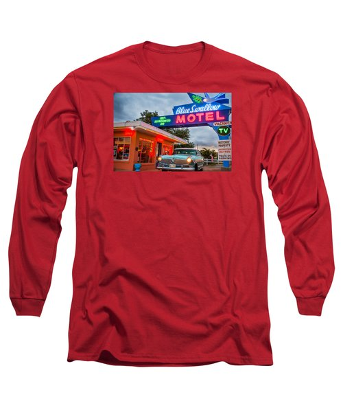 Blue Swallow Motel On Route 66 Long Sleeve T-Shirt by Steven Bateson
