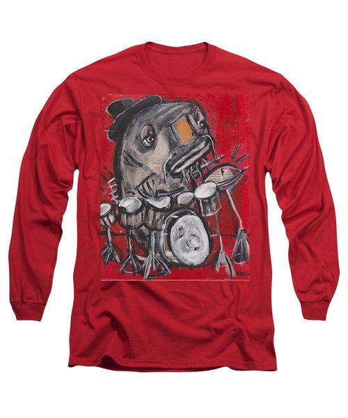 Blues Cat Drums Long Sleeve T-Shirt