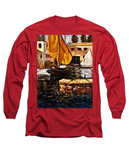 Boat With Golden Sail,san Vigilio  Long Sleeve T-Shirt by Cristina Mihailescu