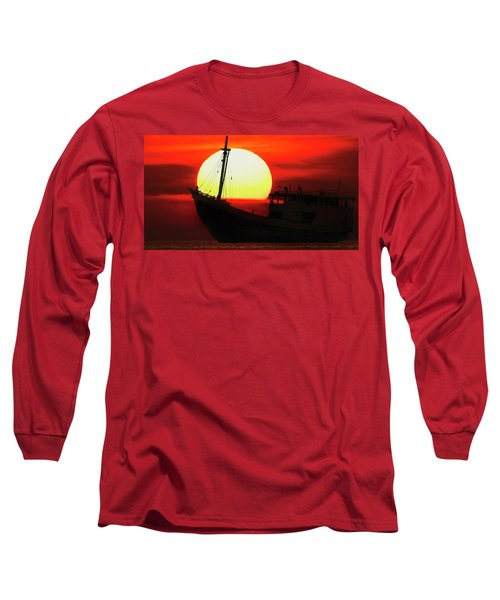 Boatman Enjoying Sunset Long Sleeve T-Shirt