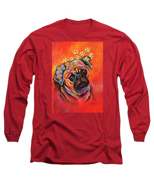 Pug Long Sleeve T-Shirt by Patricia Lintner
