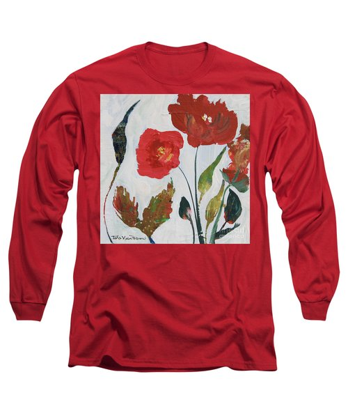 Long Sleeve T-Shirt featuring the painting Bold Blooms by Robin Maria Pedrero
