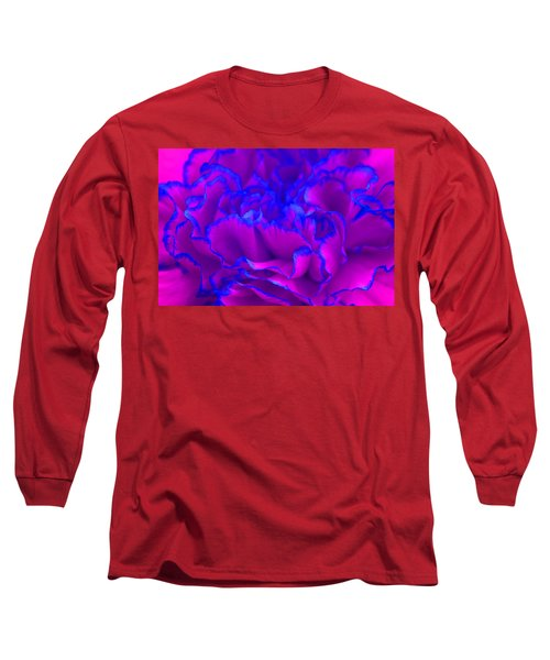 Long Sleeve T-Shirt featuring the photograph Bold Fuschia Pink And Blue Carnation Flower by Shelley Neff