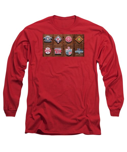 Boston Red Sox World Series Emblems Long Sleeve T-Shirt by Diane Diederich
