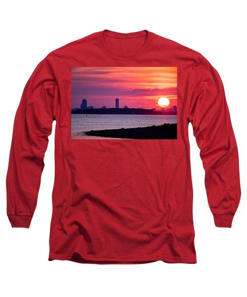 Boston Skyline Worlds End Long Sleeve T-Shirt
