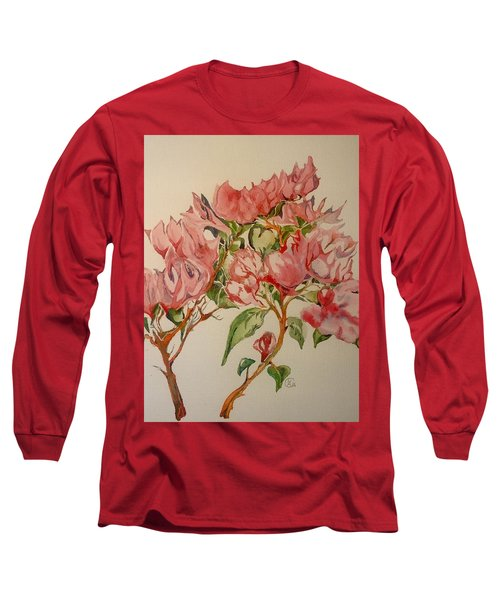 Long Sleeve T-Shirt featuring the painting Bougainvillea by Iya Carson