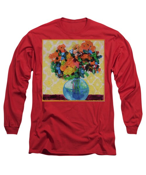 Bouquet-a-day #7 Original Acrylic Painting Free Shipping 59.00 By Elaine Elliott Long Sleeve T-Shirt